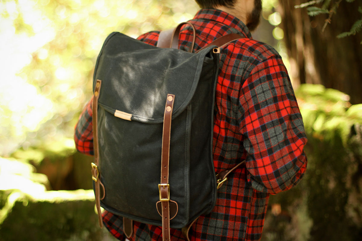"Leather and canvas UTL ""Utility"" backpack"